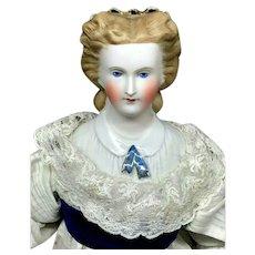 """c.1860s Rare Cafe Au Lait Parian WITH SNOOD - 17"""" Kling China Antique German Doll"""