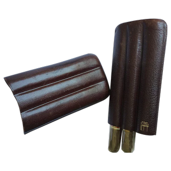 Dunhill vintage leather case cigar case with two H. Upmann cigars