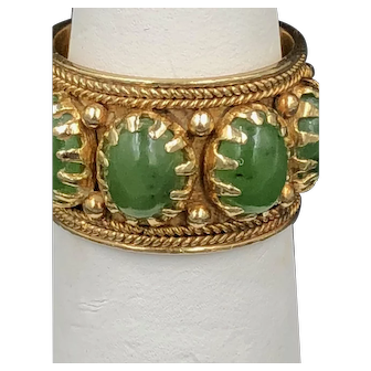 14kt Gold Ring with Jade Cabochons