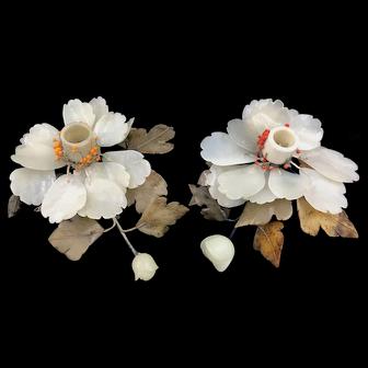 Vintage Chinese Flower Jade Candle Sticks Pair