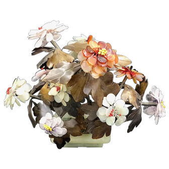 Chinese Centerpiece Jade Flower Arrangement