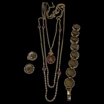 Glass Cameo Four Piece  Jewelry Set