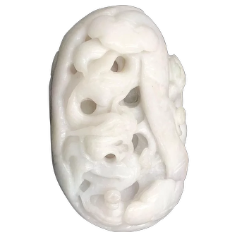 Chinese carved white jade piece vintage