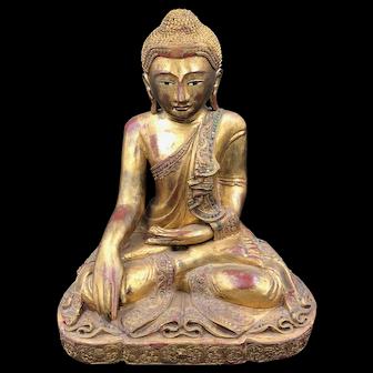 THAILAND old 19th C gilded carved wood buddha boudha budha boedha
