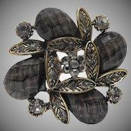 Vintage Dark Grey teardrop faceted rhinestone brooch
