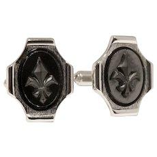 Hickok Rhodium plated Fleur-de Lis cufflinks