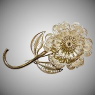 Vintage Silver Filigree Flower Brooch