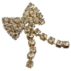 Gold tone bow Brooch with Rhinestones and Tassels