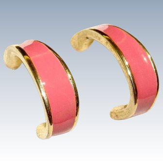 Vintage Barcs Pink Enamel Earrings