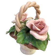 Capodimonte Italian ceramic Rose Basket