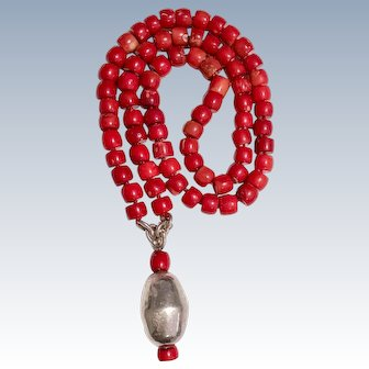 Bold Red Bamboo Coral Beaded long Necklace with massive Sterling Silver Pendant