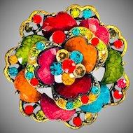 Bright Colourful Czechoslovakian Rhinestone and Resin flower Pendant