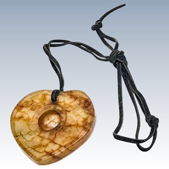 Carved Dragon Vein Agate Heart Pendant on Black Strap