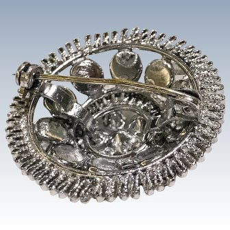 Silver wire and Rhinestone Dome Brooch