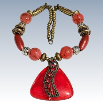 Vintage bold cherry Red Resin Necklace