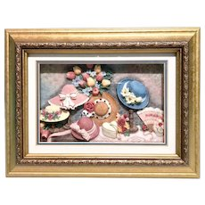 Vintage gilded Wooden shadow box hats floral