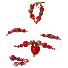 Cherry Red Murano Glass Heart and Cloisonné bead Necklace