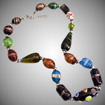 Vintage hand blown art glass beaded Murano necklace
