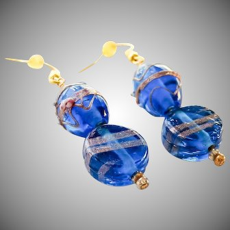 Gold plated hand blown cobalt blue Murano foiled glass bead earrings