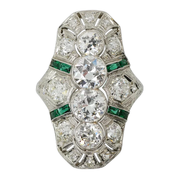 Ladies Platinum Diamond and Emerald Art Deco Ring