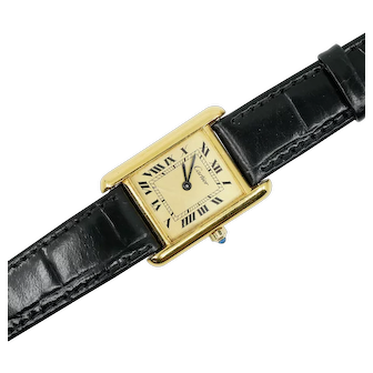 Ladies 925 Silver Gold Plated Cartier Watch