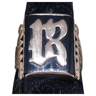 Vintage 14K Rose Gold and Onyx Signet Ring.