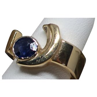 Vintage 14K Solitaire Sapphire Ring.