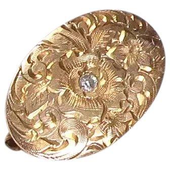 Vintage Victorian Inspired 14k Gold Diamond Pin/Brooch