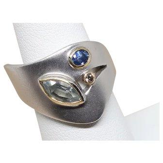 Vintage Sterling Silver Modern Design Three Stone Ring