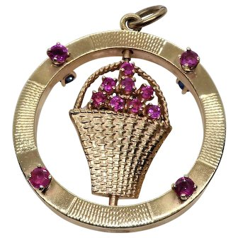 Vintage 14K Gold With Revolving Center Pendant Hosts Rubies And Sapphires