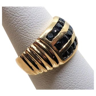 Vintage Sapphire 14K Cigar Band Ring