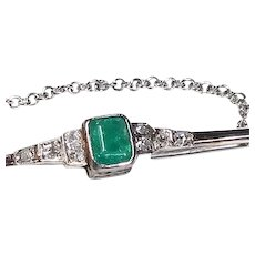 Vintage Art Deco Emerald And Diamond White Gold Brooch/Pin