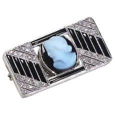 Vintage Art Deco Platinum Onyx Cameo Diamond Brooch/Pin