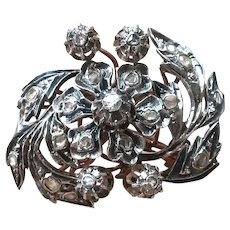 Vintage Antique Silver Diamond Brooch Pin