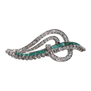 Vintage Mid-Century Diamond Emerald 14K White Gold Brooch