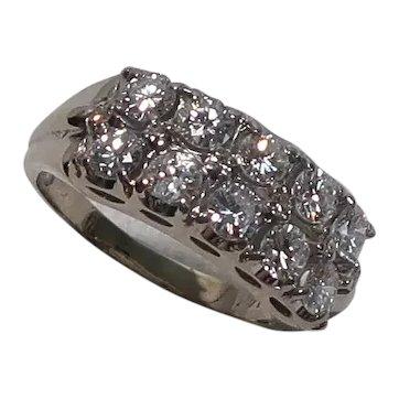 Vintage Diamond 14K Gold Mid-Century Band Ring