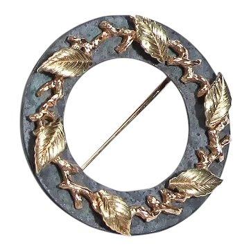 Vintage Iron and Gold Circle Pin Brooch