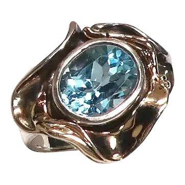 Vintage Hagit Gorali Gold Sterling Blue Topaz Ring