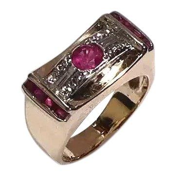 Vintage Diamond Ruby Gold Platinum Retro Ring