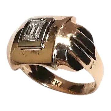 Vintage Art Deco Gold Emerald Cut Diamond Ring