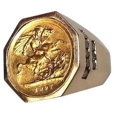Antique 22K 1897 British Half Sovereign Coin Gold Ring