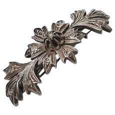 Antique Diamond Silver Victorian Large Brooch/Pin