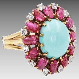 Vintage Turquoise Ruby Ring, 1930s Ring, Vintage Turquoise Ring, Ruby Ring, scarab Egyptian Ring, Historic Ring, 4858