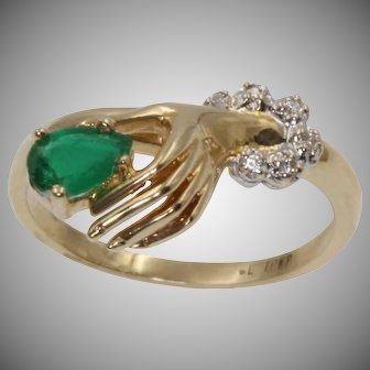 Ladies Vintage 10kt Yellow Gold Emerald And Diamond Hand Ring | 9353