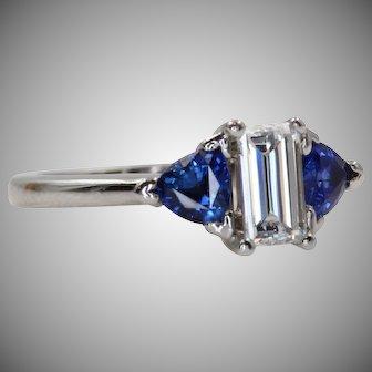 Vintage Diamond and Sapphire Engagement Ring | U1032
