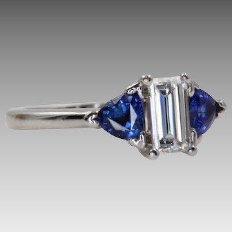 Vintage Diamond and Sapphire Engagement Ring   U1032