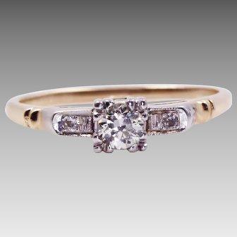 Elegant Vintage Diamond Engagement Ring with A Beautiful History U2159