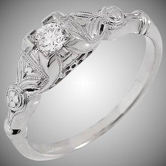 Vintage 1940s Natural Diamond Engagement Ring | 0.10 Carat G/SI1 | 18k White Gold | Hand Engraved | U2703