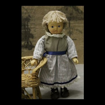 Pretty Fabric doll 9 inches Head and hands bisque