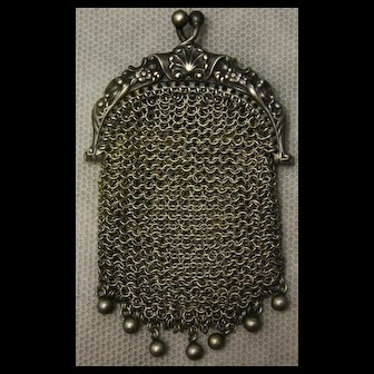 Beautiful  small sterling silver mesh coin purse for doll
